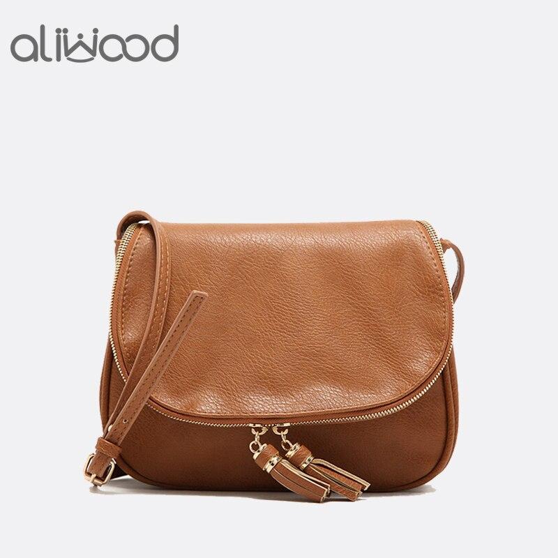 2018 New Tassel Women Bag Leather Handbags Cross Body Double Zipper Shoulder Bags Ladies Fashion Messenger Bag Bolsas Feminina leather