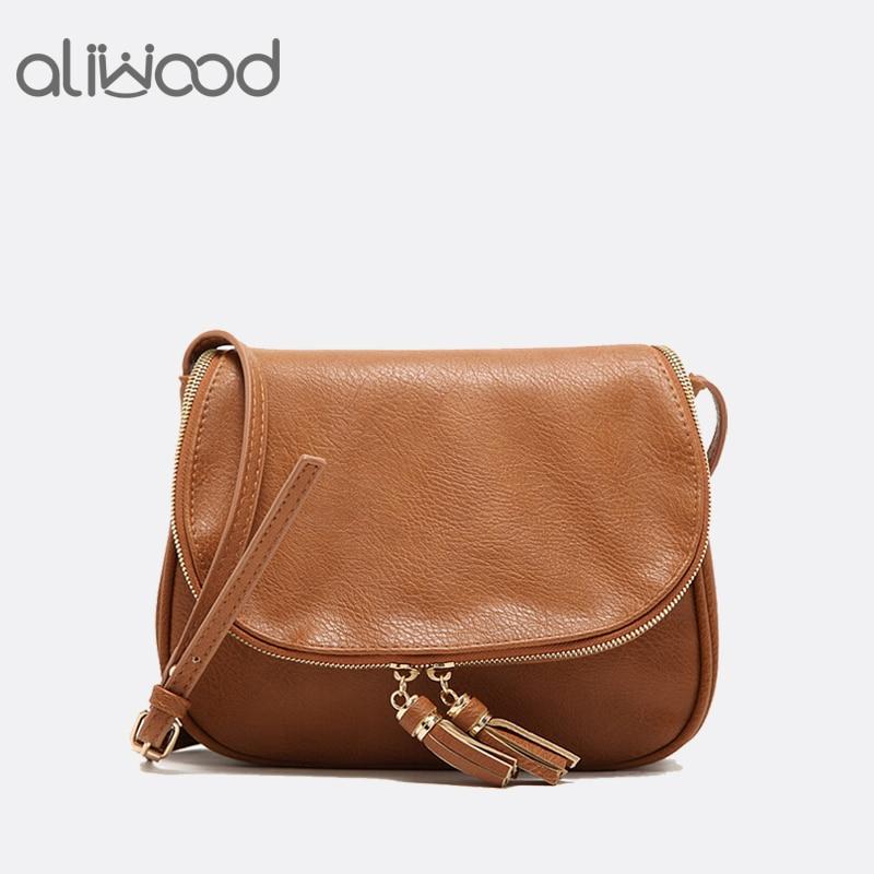 2018 New Tassel Women Bag Leather Handbags Cross Body Double Zipper Shoulder Bags Ladies Fashion Messenger Bag Bolsas Feminina