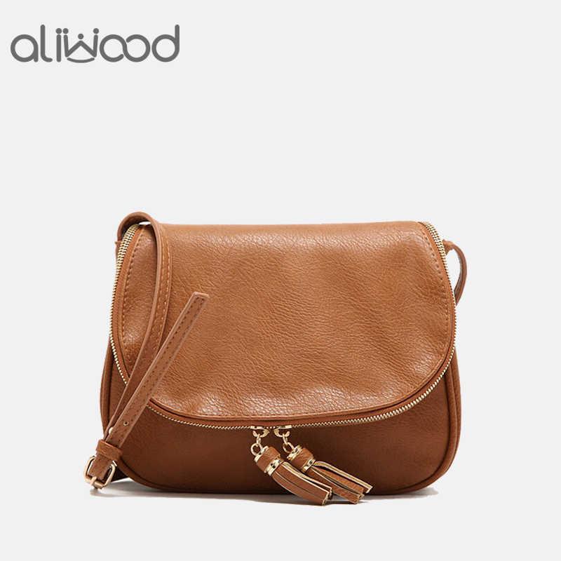 393ed7e4df5 2018 New Tassel Women Bag Leather Handbags Cross Body Double Zipper  Shoulder Bags Ladies Fashion Messenger Bag Bolsas Feminina