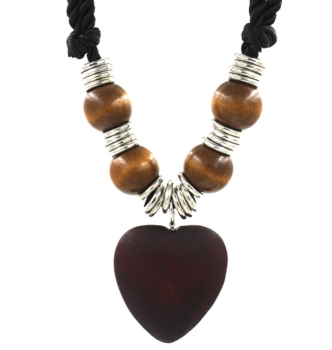 Wooden beads short Beaded Necklace exaggerated oblate