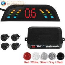 Интеллектуальные Цифровые LED Автомобиля Парковочный Сенсор Системы Автомобилей Авто Помощи При Парковке Обратный Резервный Комплект с 4 Датчиками Би-Би оповещения