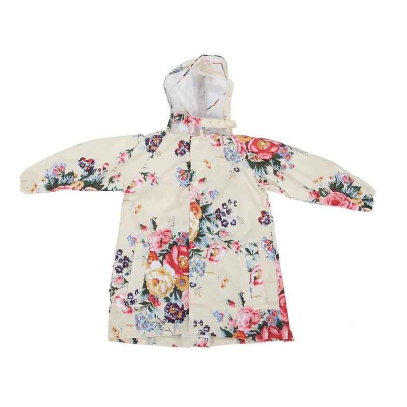 Childrens flower pattern waterproof raincoat portable folding hooded rain gear outdoor travel home cute essential supplies hot