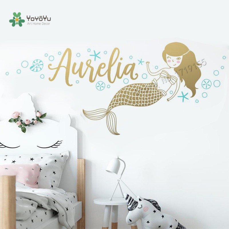 Mermaid Wall Stickers Custom Name Vinyl Decals Girls Room Personalized Name Wall Decal Kids Room Mural Custom Nursery DecorZW479