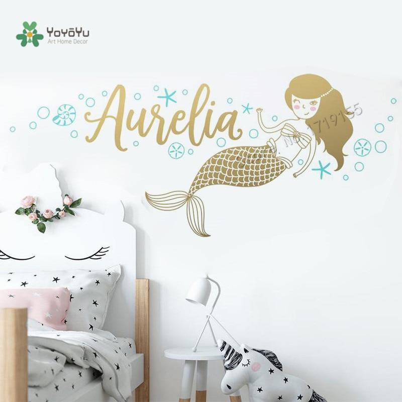 Mermaid Wall Stickers Custom Name Vinyl