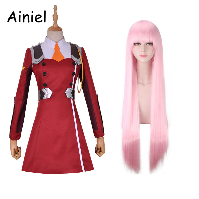 Ainiel Japanese Anime DARLING in the FRANXX Cosplay Zero Two Cosplay Costume Rend Summer Uniform  Dress  and Headwear Hair Women