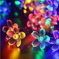 Alta Calidad A Prueba de agua 50 LED de Energía Solar Flor Colorida Luces de Navidad Boda Del Jardín de Hadas Cadena Fiesta de navidad Decoración