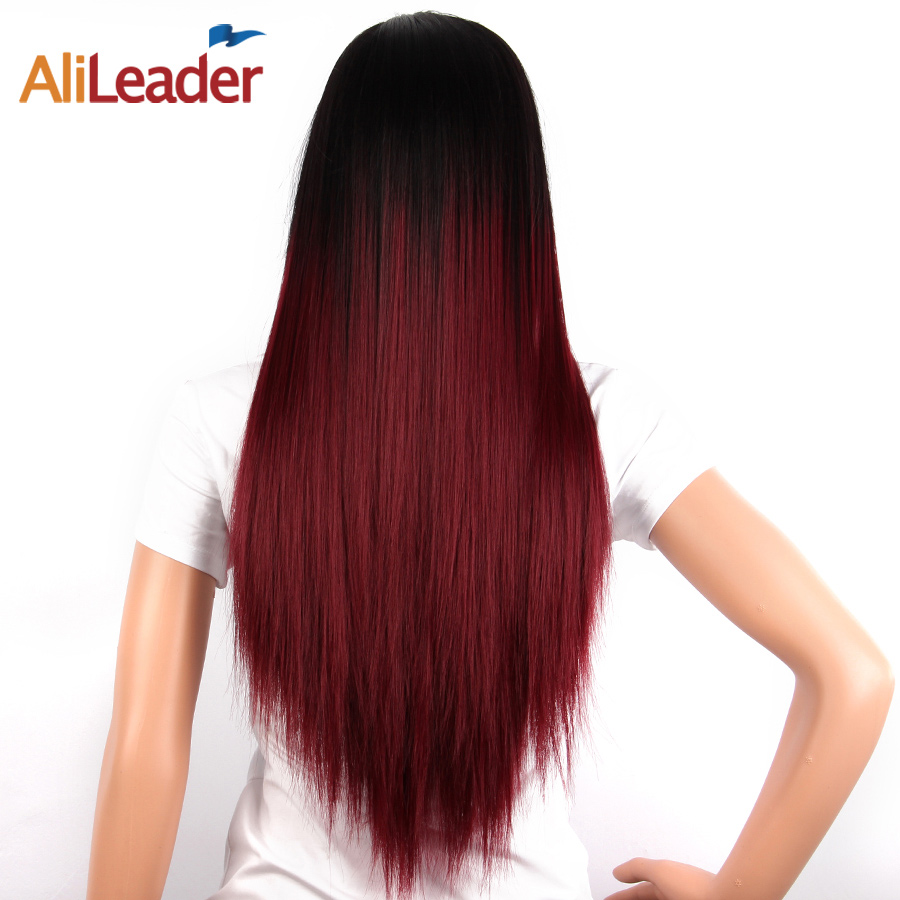 AliLeader Product Straight Heat Resistant Wig Brown Blonde Long Hair 26 Inch Black And Burgundy Synthetic Wig Natural Hair