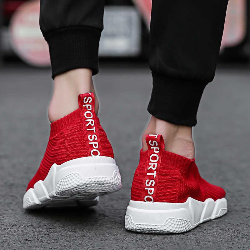 a38803472deb ... Weweya полые красные туфли Для мужчин Повседневное носок Мужская обувь  кроссовки для взрослых открытый кроссовки слипоны ...