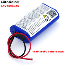 LiitoKala 3.7V 5200mAh 18650 batterie Lithium Pack pêche LED lumière Bluetooth haut parleur 4.2V durgence bricolage batteries + 2P prise