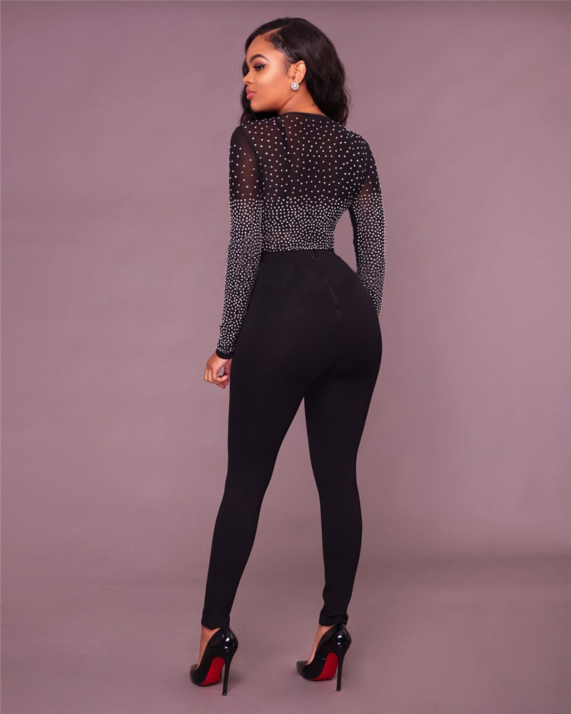 2a08cd3ef0e6da 2017 Sexy Long Sleeve Black Mesh Bodysuits Tops Women Rhinestone Leotard  Tops V Neck One Piece Bodysuit Sheer Jumpsuits Outfits-in Bodysuits from  Women's ...