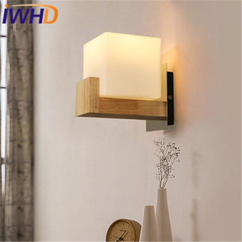 Modern Wall Lamp LED Fashion Cube Glass Wall Light Fixtures Simple Wood Bedside Wall Sconce Home Lighting Luminaire Lamparas