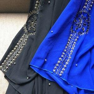 Image 5 - Plus Size Abiti per Le Donne Dashiki Africano Perle di Diamante Africano Vestiti Abaya Dubai Vestito Da Sera Abito Lungo Musulmano Mantello Con Cappuccio