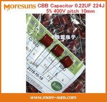 Fast Free Ship 100pcs/lot CBB Capacitor 0.22UF 224J precision 5% 400V pitch10mm thin film capacitor