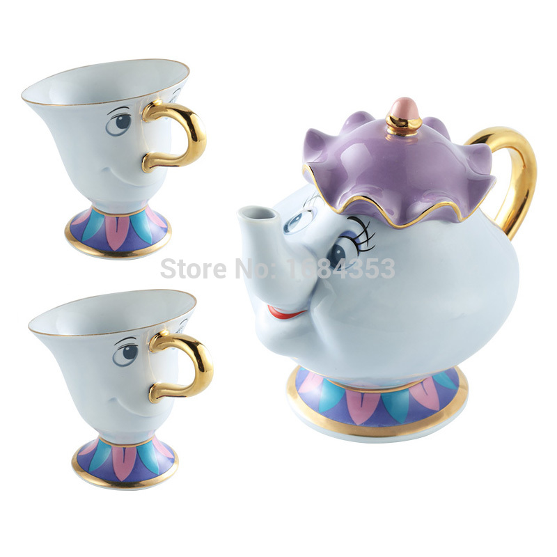 Cartoon Beauty And The Beast Coffee Pot Cup Mug Mrs Potts Chip Kettle - Kitchen, Dining and Bar - Photo 2