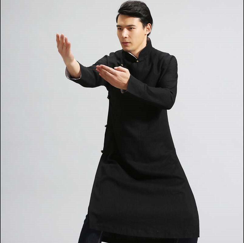 The retro Chinese male robe hanfu chinese style jacket cotton mens costume Hanfu gown of autumn Kungfu