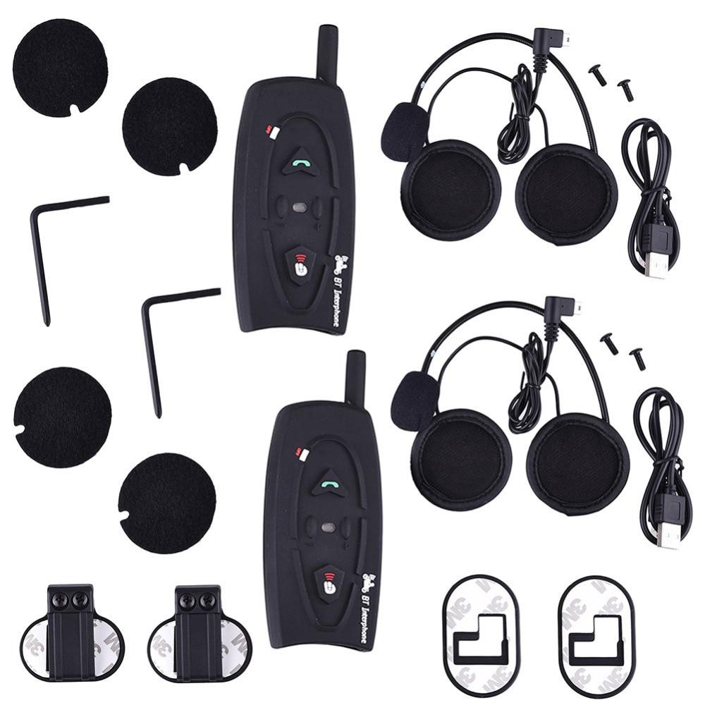 A set 2016 BT Bluetooth Motorcycle font b Helmet b font Intercom Music Reciever Motorbike Interphone