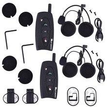 Un conjunto de 2016 Receptor de Música Bluetooth Motocicleta Intercomunicador Del Casco BT Interfono Moto Auricular Manos Libres Llamada EE. UU. Plug