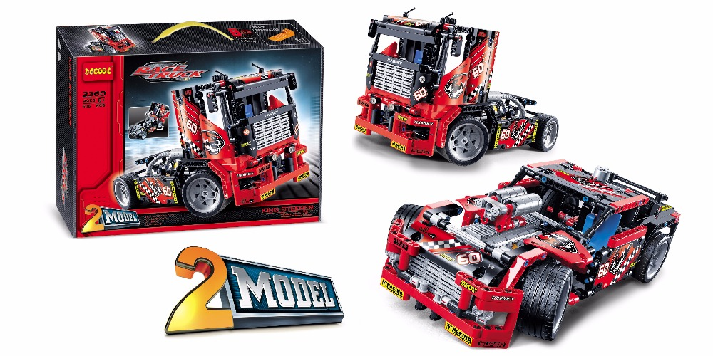 2 Model Decool bricks 3360 608pcs Race Truck Car Transformable Model Building Block Sets FIT for LEGO for lepin Technic 42041 608pcs race truck car 2 in 1 transformable model building block sets decool 3360 diy toys compatible with 42041
