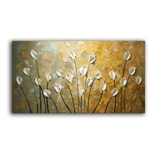 Hand Painted Textured Palette Knife gold Flower Oil Painting Abstract Modern Canvas painting Wall Art Picture Living Room Decor цена
