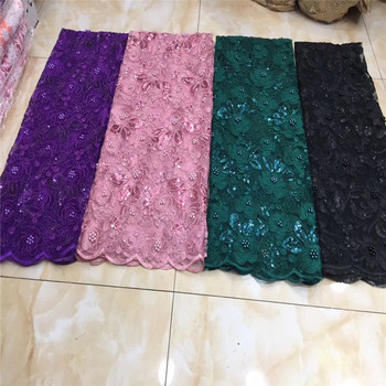 Hot Sale Organza Lace Fabric Fabric 2019 High Quality French Mesh Lace Fabrics with Sequins beads Lace Fabric for Party Dress