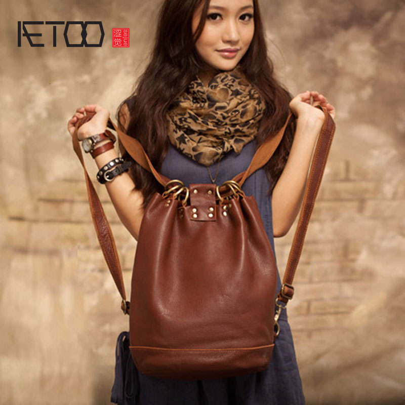 AETOO New original handmade leather buckets leather leather shoulder bag leisure Korean version of the trip backpack female bag 2017 new fashion leather backpack female korean version of the street stream simple leisure travel bag bag shoulder bag leather