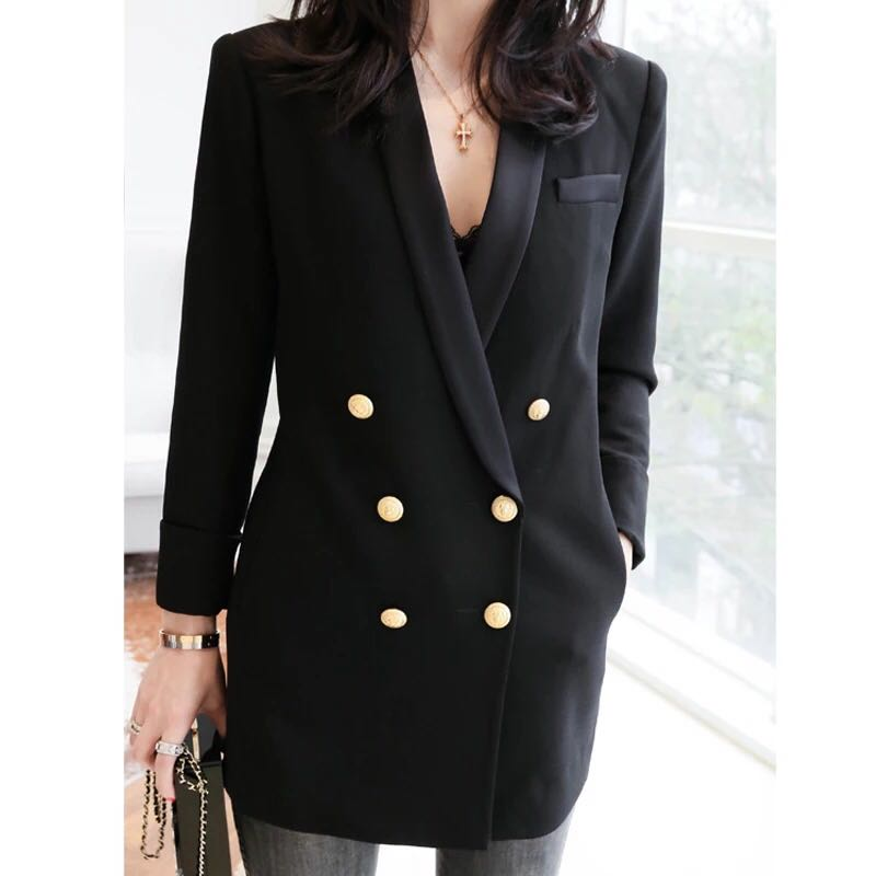 Online Buy Wholesale gold button blazer women from China gold ...