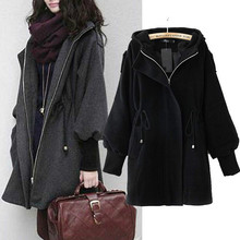 Trench Coat For Women 2018 Autumn Winter Fashion European Style Drawstring Hooded Puff Sleeve Women Coat Fast Shipping