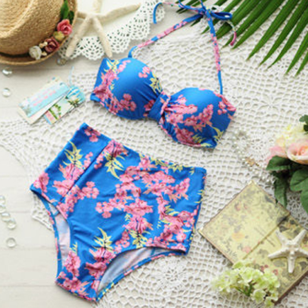 2014 flower Print bikini set vintage high waisted swimwear Women push fashion swimsuit A01368 - time tree store