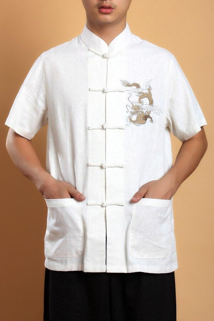 Летняя рубашка с короткими рукавами черная китайская мужская рубашка для кунг-фу топ с драконом YF1210 - Цвет: White