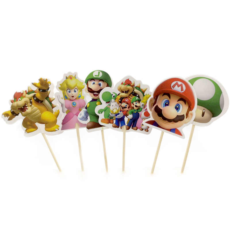 24pcs/lot Kids Boys Favors Birthday Party Super Mario Theme Cake Topper Decorate Happy Baby Shower Cupcake Toppers with Sticks