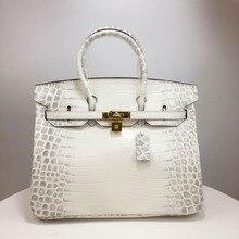 Kafunila women luxury genuine leather platinum lock handbags vintage crocodile cow leather crossbody shoulder bags totes bolsa