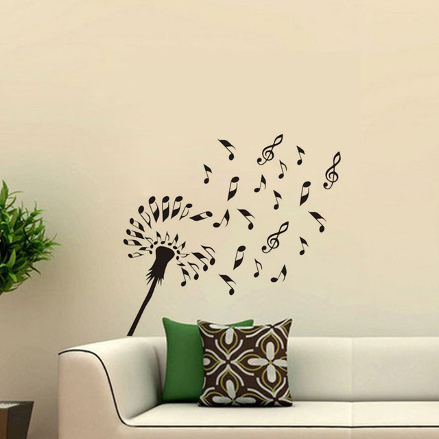 Musical Symbols Dandelion Wall Stickers Decoration Vinyl DIY Flower Wall  Decals Removable Interior Design Wallpaper