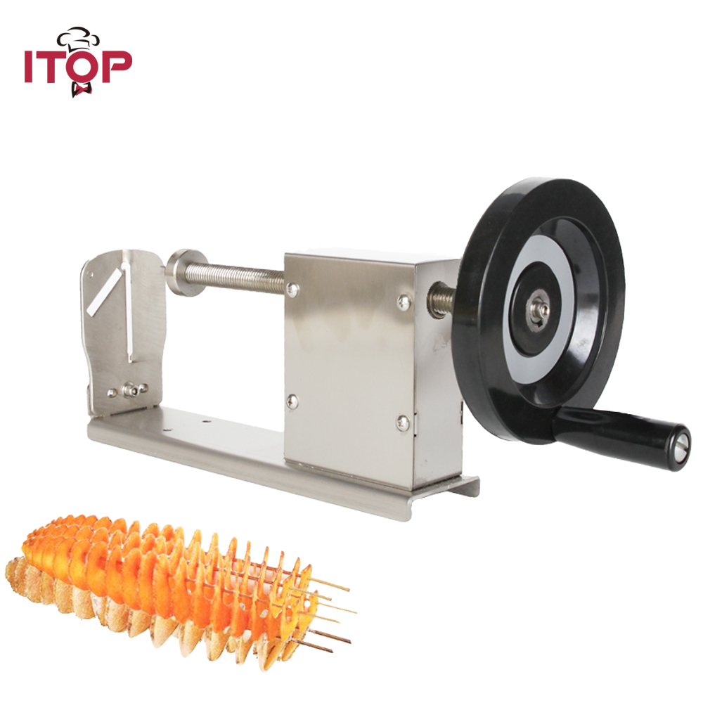 ITOP 3in1 Manual Potato Spiral Cutter Stainless Steel Vegetable Fruit Potato Carrot Shredders Slicers French Fries Cutters ps 336h manual roller shredder slicers tool cut fruit multi function stainless steel fruit vegetable tools mo powde shredding