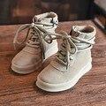 2016 Otoño/Invierno Botas Chica Cuero Genuino Martin Botas Niños Botas de Moda Zapatilla de deporte de Los Zapatos Planos de Color Caqui Mediados Botas de media pierna