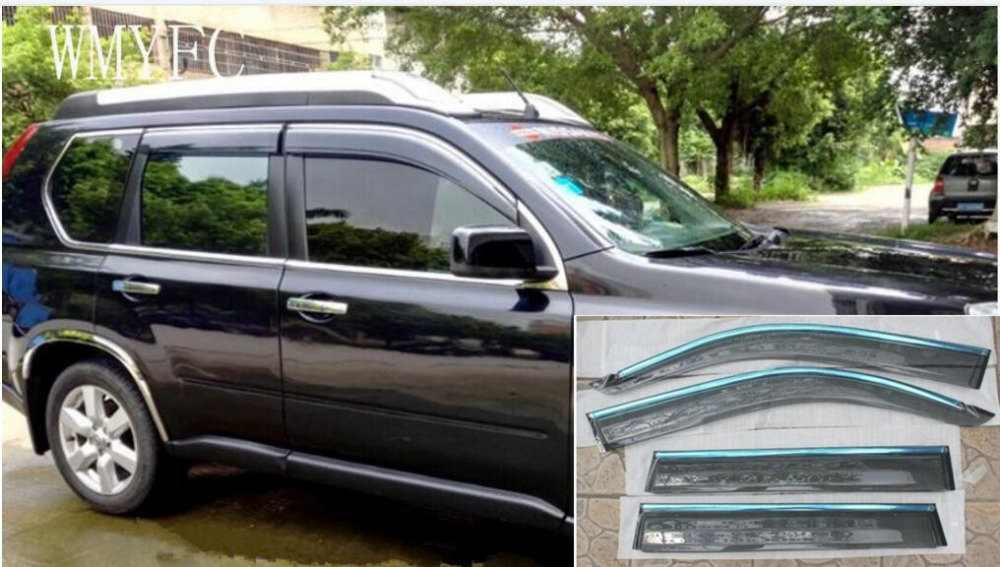 for Nissan X-Trail X trail t31 Window Visor Vent Shades Sun Rain Deflector Guard 2009 2010 2011 2012 2013 chrome stris window visor sun shade vent guard deflector for mitsubishi asx rvr outlander sport 2010 2011 2012 2013 2014 2015