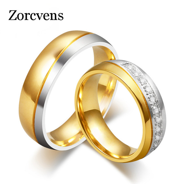 zorcvens new fashion gold color crystal 316l stainless steel wedding ring for women and men - Stainless Steel Wedding Ring