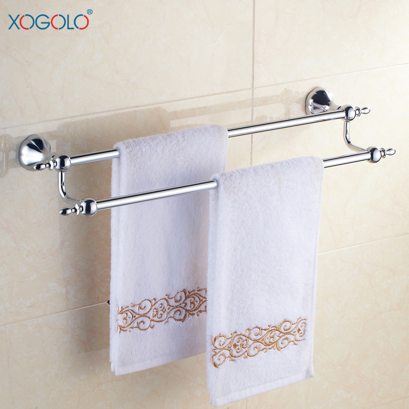 Xogolo Double Bathroom Towel Bar Stainless Steel Bath Towel Rack Bathroom Hanging Accessories 2548, Polished Chrome sucker bathroom towel rack stainless steel bar folding frame multi pole hanging