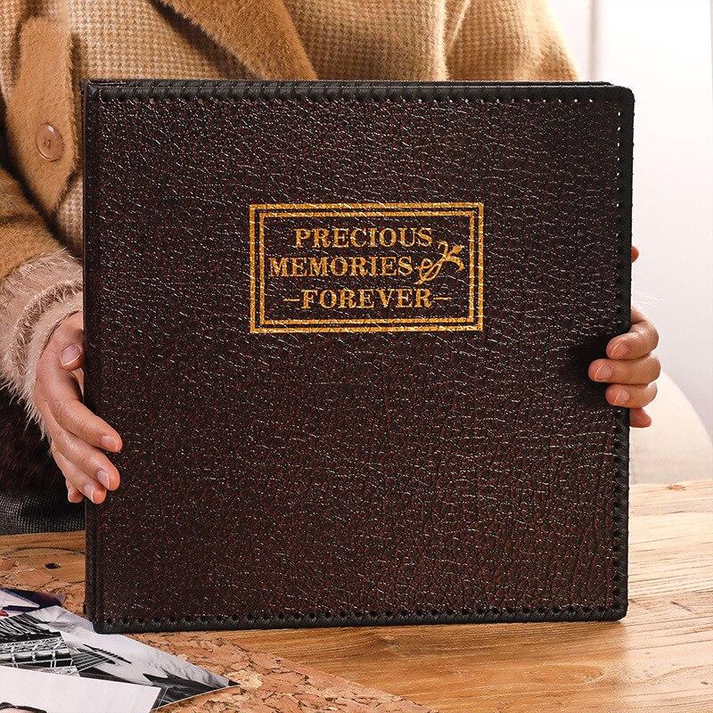 Nueva gran 12 pulgadas PU cuero álbum retro manual adhesivo DIY álbum familia álbum matrimonio registro de memoria foto de regalo de colección