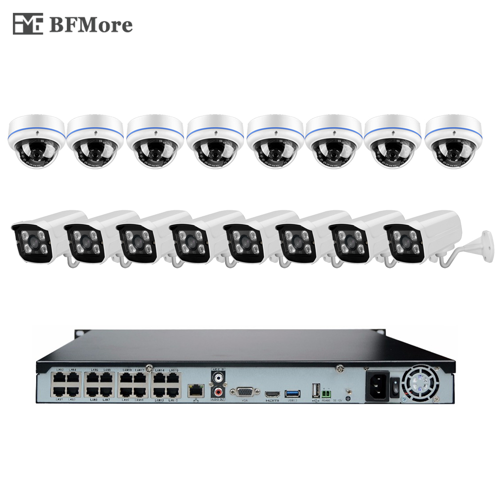 BFMore 16CH 1080P 48V POE NVR KIT 2 0MP CCTV System 16pcs POE IP Camera Onvif