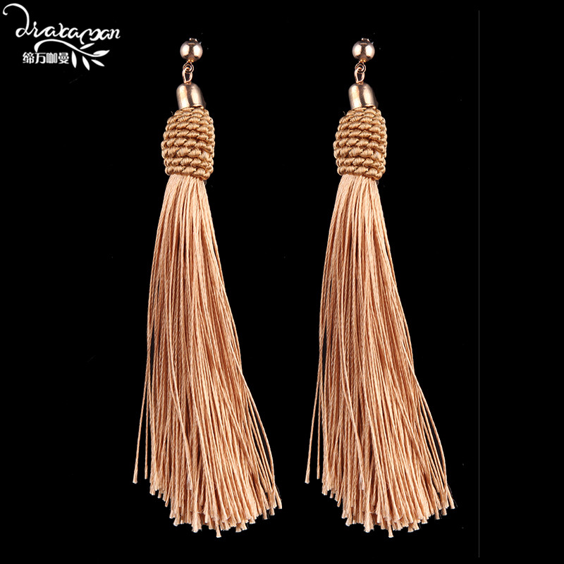 Dvacaman Brand Coffee Color Tassel Earrings Hot Sale Fashion Long Rope Chain Drop Earring Women Statement Jewelry Wholesale LL78