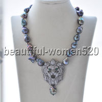 Z9395 20mm Black Baroque Keshi Pearl Necklace & pendant Lion CZ 17inch