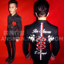 Hot Plus Size Fashion Men Suits S-5XL Fashion Black Floral embroidery snake Male Singer Slim Performance Party Prom Costume
