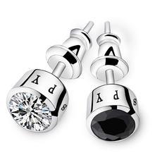 Модные серебряные серьги с кристаллами для мужчин нестандартные