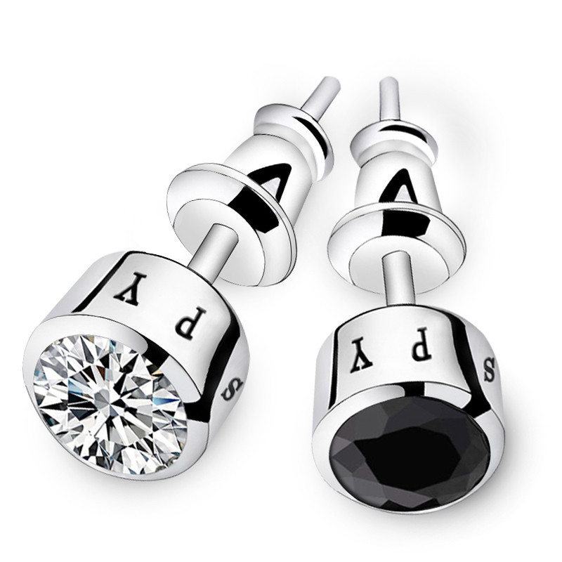 Fashion Silver Plated Crystal Men Studs Earrings non-mainstream personality earrings for ...