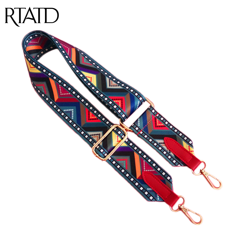RTATD New Handbags Strap National Wove Design Gold Buckle Canvas Bags Straps Lady Bags Belts Easy Holding Shoulder Straps AA178