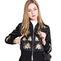 2017 Fashion Women Basic Jackets Coats Star Embroidery Slim Jacket Women Stand Collar Coat Women Long Sleeve Short Jackets Women