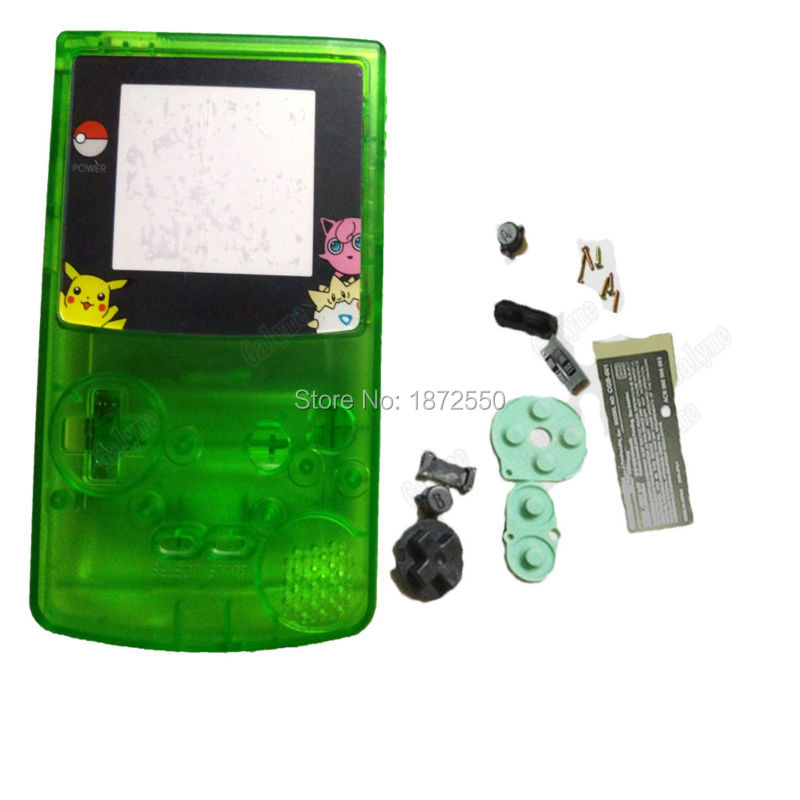 Hot Transaprent Green Housing Shell With Cartoon Screen Lens For NintendoGBC Fit Gameboycolor Retro Game Console Boy Kids Gifts