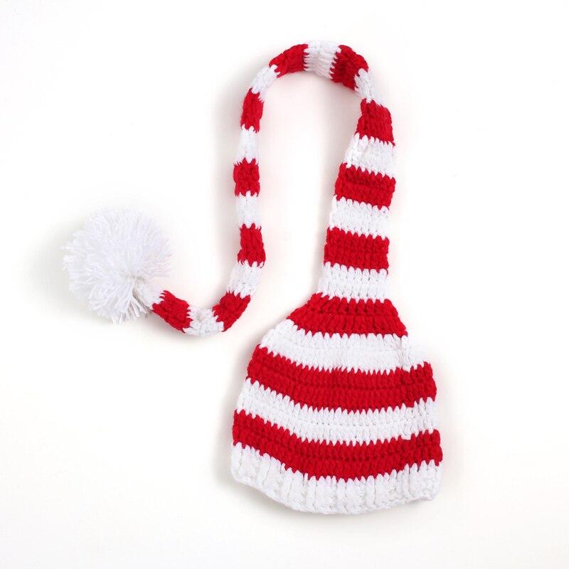 Nyfødt julegave Fullmåne Ullhue Håndarbeid Strikket Langhale Cap 0-3 Måneder Håndkrok Baby Bonnet Fotografi Prop