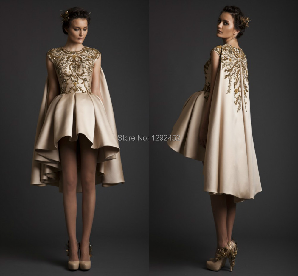 Unique Hot O-neck Cap Sleeves Gold Embroidery Line Short Evening Dress Beaded New Design Party Reception Gown Sexy Engagement  -  newdesignbridaldream store