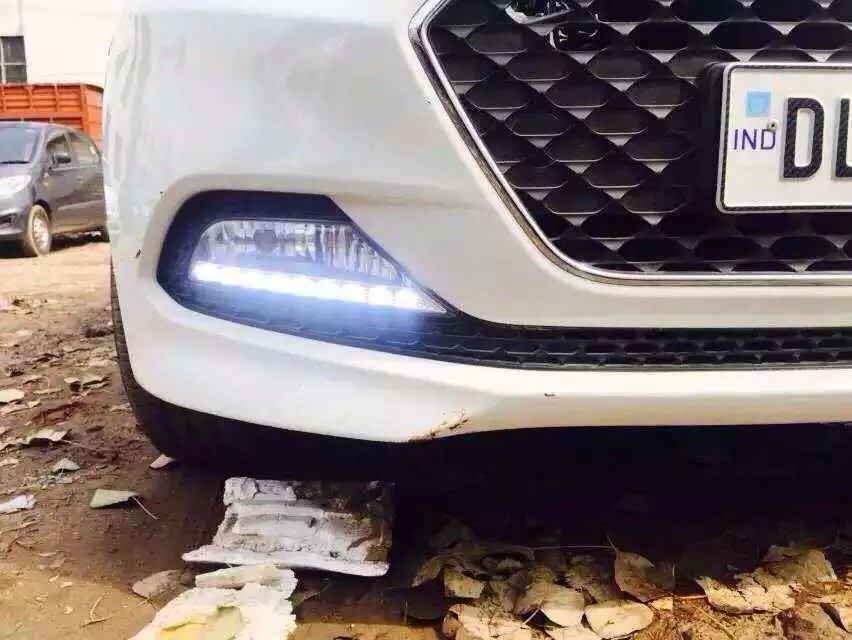 LED DRL daytime running light for 2015 Hyundai I20, with fog lamp cover, super bright hireno super bright led daytime running light for great wall haval hover h6 car led drl fog lamp 2pcs